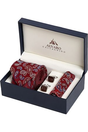 Alvaro Castagnino Men Handkerchiefs - Men Maroon & Blue Printed Accessory Gift Set