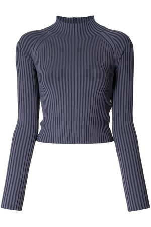 DION LEE Ribbed-knit backless top