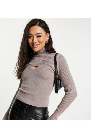 Missguided Long sleeve top with overlayer in