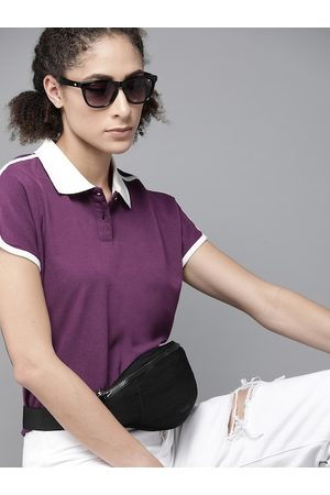 Roadster Women Purple Pure Cotton Polo Collar Extended Sleeves T-shirt