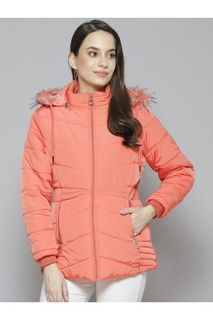 Foreign Culture By Fort Collins Women Coral Pink Parka Jacket with Detachable Hood