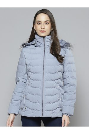 Fort Collins Women Blue Solid Parka Jacket with Detachable Hood