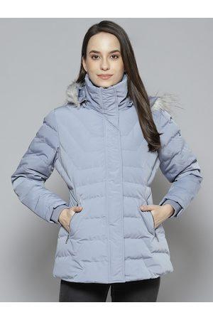 Fort Collins Women Parkas - Women Blue Solid Parka Jacket with Detachable Hood