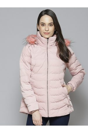 Fort Collins Women Pink Solid Parka Jacket with Detachable Hood