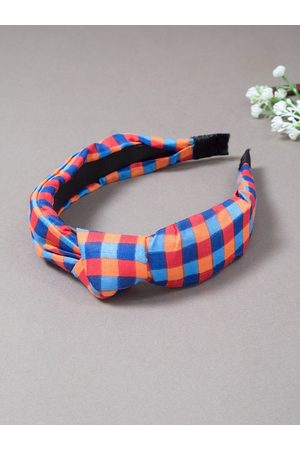 Golden Peacock Women Red & Blue Checked Knotted Detailed Hairband