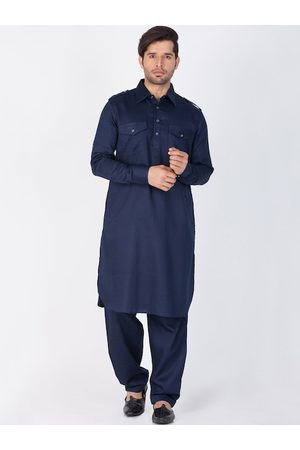Vastramay Men Kurtas - Men Blue Pathani Cotton Blend Kurta with Salwar