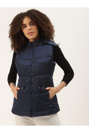 Duke Women Parkas - Women Navy Blue Solid Parka Jacket
