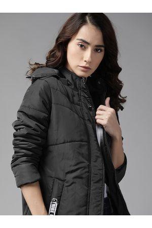 Roadster Women Parkas - Women Black Solid Hooded Parka Jacket