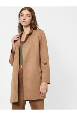 ONLY Women Brown Solid Trench Coat