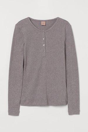 H&M Ribbed modal-blend Henley top - Grey