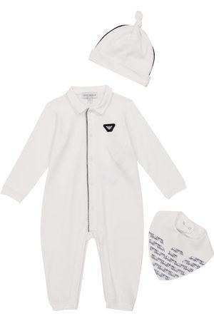 Emporio Armani Baby cotton-blend onesie, hat and bib set