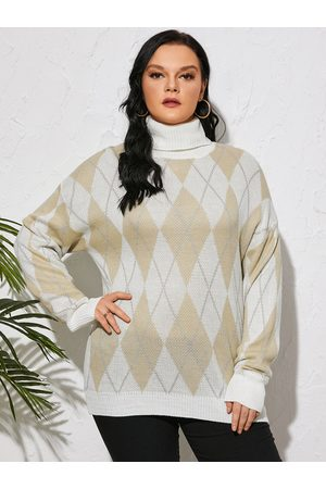 YOINS Plus Size High Neck Plaid Long Sleeves Sweater