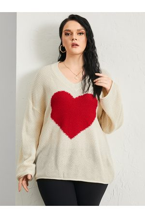 YOINS Plus Size V-neck Heart Patchwork Long Sleeves Sweater