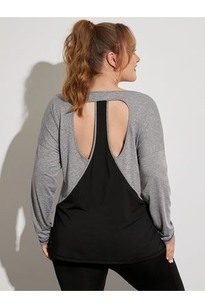 YOINS Plus Size Round Neck Backless Design Cut Out Long Sleeves Tee