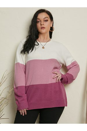YOINS Plus Size Color Block Long Sleeves Sweater