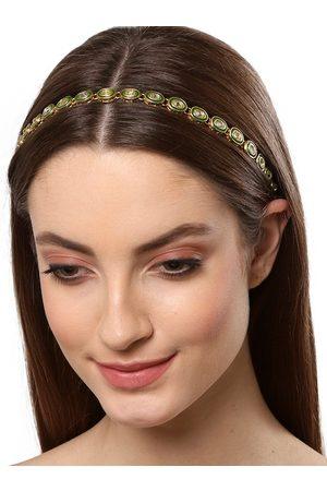 karatcart Women Gold-Toned & Green Embellished Hairband