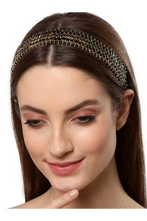 karatcart Women Hair Accessories - Women Gold-Toned & Black Embellished Hairband