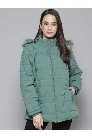 Fort Collins Women Green Solid Parka Jacket with Detachable Hood