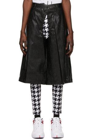 Comme des Garçons Men Shorts - Faux-Leather Croc Cut-Out Shorts