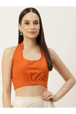 Molcha Women Rustic Orange Non Padded Back Open Halter Neck Cotton Saree Blouse