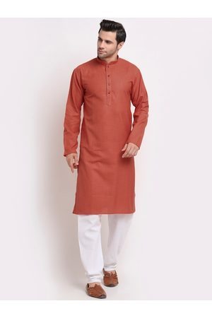 KRAFT INDIA Men Rust Printed Regular Pure Cotton Kurti with Pyjamas
