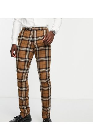 Twisted Tailor Tall suit trousers in tartan check with pocket chain detail