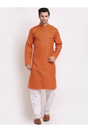 KRAFT INDIA Men Orange Ethnic Motifs Printed Regular Pure Cotton Kurta with Pyjamas