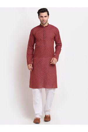 KRAFT INDIA Men Red Ethnic Motifs Printed Regular Pure Cotton Kurta with Pyjamas