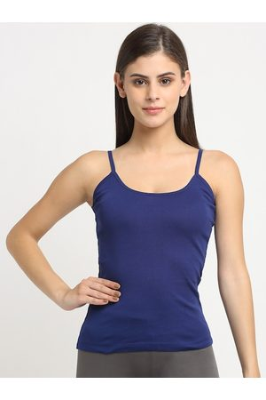 Friskers Women Blue Solid Cotton Rib Camisole
