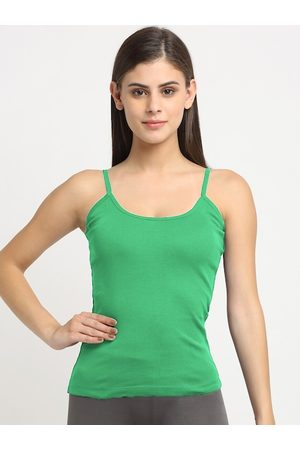 Friskers Women Green Solid Cotton Rib Camisole