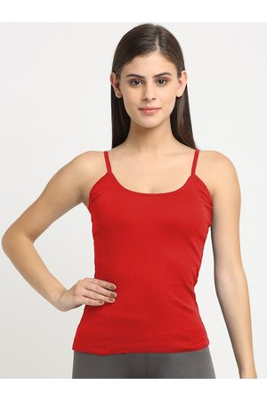 Friskers Women Red Solid Cotton Camisole