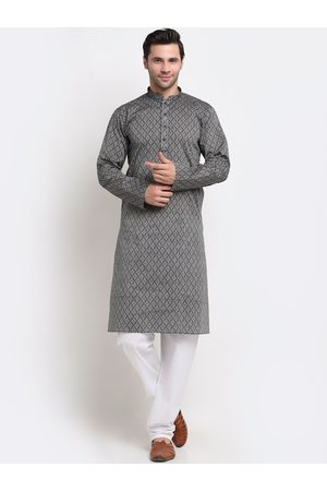 KRAFT INDIA Men Grey Ethnic Motifs Regular Pure Cotton Kurta with Pyjamas