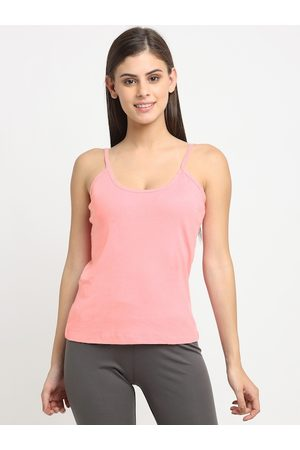 Friskers Women Coral Pink Solid Cotton Rib Camisole