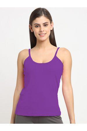 Friskers Women Purple Solid Cotton Camisole