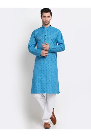 KRAFT INDIA Men Blue Ethnic Motifs Regular Pure Cotton Kurta with Pyjamas