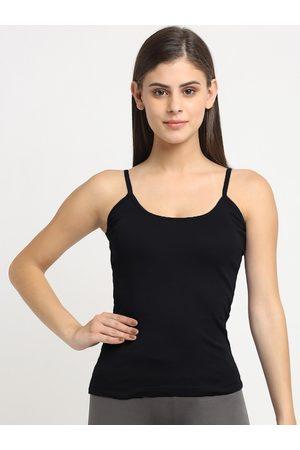 Friskers Women Black Solid Cotton Rib Camisole