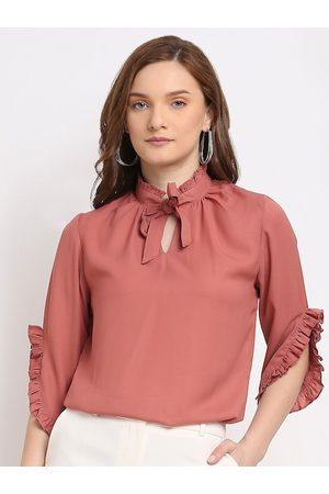 La Zoire Pink Tie-Up Neck Georgette Regular Top