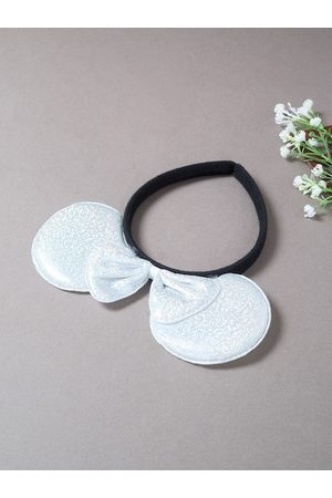 Golden Peacock Women White & Black Micky Mouse Ears & Bow Hairband
