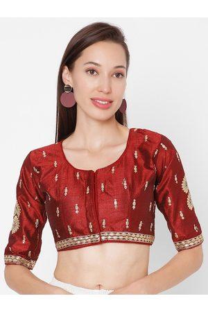 SALWAR STUDIO Women Maroon & Gold-Coloured Embroidered Saree Blouse