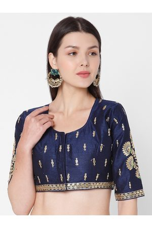 SALWAR STUDIO Women Blue & Gold-Coloured Embroidered Padded Readymade Saree Blouse