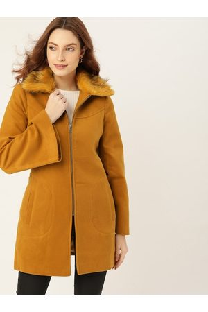 DressBerry Women Mustard Brown Solid Trench Coat with Faux Fur Trim