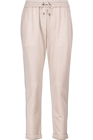 Brunello Cucinelli Women Sports Trousers - Embellished cotton and silk sweatpants