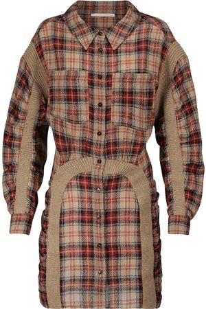Stella McCartney Women Casual Dresses - Checked wool shirt minidress
