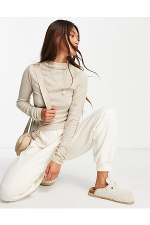 River Island Brushed rib high neck long sleeved top in beige