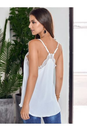 URBANIC Women White Solid Cami Styled Back Top with Lace Inserts