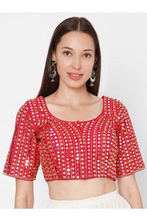 SALWAR STUDIO Women Pink & Gold-Toned Embroidered Silk Readymade Saree Blouse