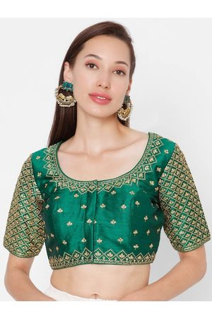 SALWAR STUDIO Women Green & Gold-Coloured Embroidered Padded Picasa Silk Readymade Saree Blouse