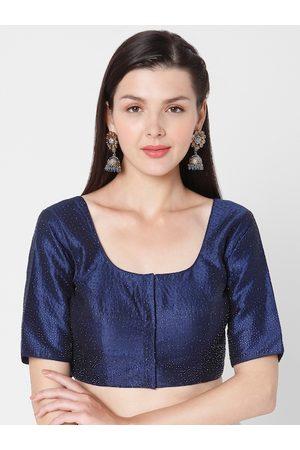 SALWAR STUDIO Women Navy Blue Embellished Silk Readymade Saree Blouse