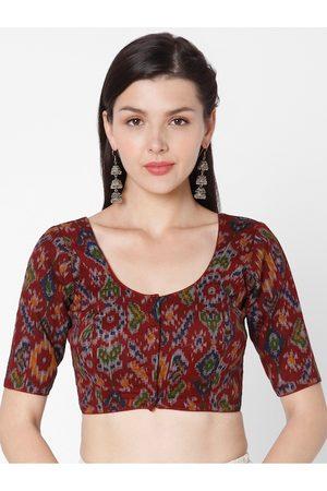 SALWAR STUDIO Women Red Printed Readymade Cotton Saree Blouse