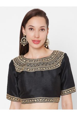 SALWAR STUDIO Women Black & Gold-Coloured Embroidered Padded Mulberry Silk Readymade Saree Blouse